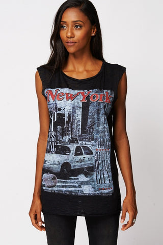 New York-Print Casual Burnout Sleeveless Top 8-10-Clothing > Tops-Loluxe