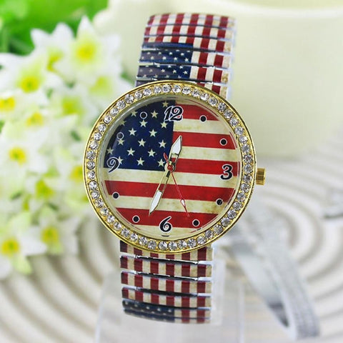 Newly Design Vintage USA Flag Printed Rhinestone Accent Analog Quartz Wrist Watch-Loluxe