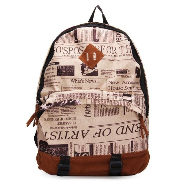 Newspaper Print Canvas Schoolbag Backpack-Handbags-Loluxe