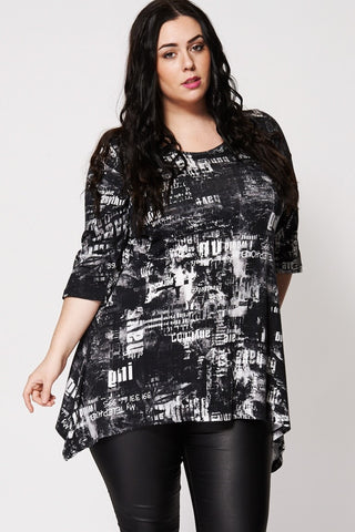 Newspaper Print Top-Plus Sizes-Loluxe