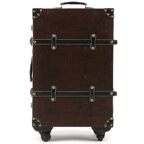 Nice Classic Retro-Style Hardside Spinner Wheel PU Leather Luggage 2 Colors 4 Sizes-Loluxe