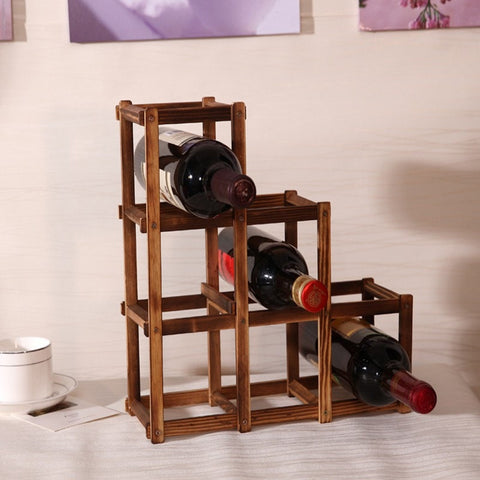 Nice High Quality Creative Folding Wood European 10 Bottle Wine Rack Organizer Display Shelf-Kitchen > Wine Racks and Coolers-Loluxe