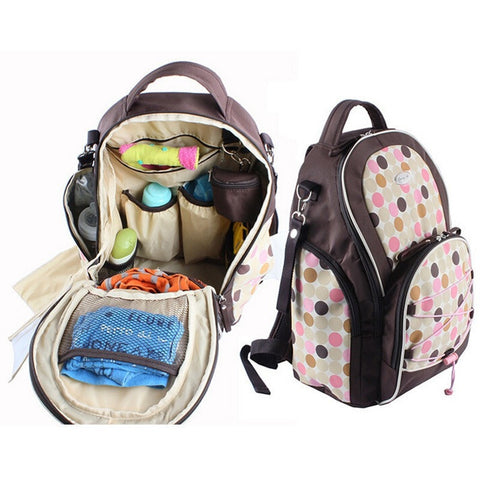 Nice High Quality Multifunctional Polka Dot Print Organizing Diaper Tote Bag 2 Colors-Loluxe