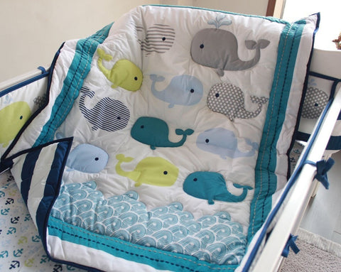 Nice NEW 7-PC Appliqued Whales Cotton Baby Nursery Bedding Set-Loluxe