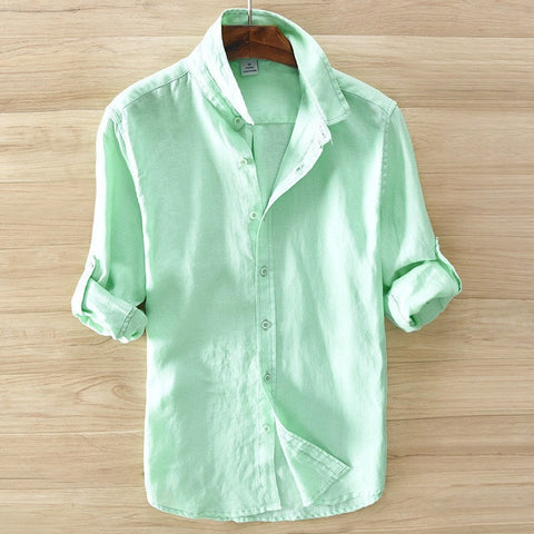 Nice Quality Linen Summer Long-Sleeve Men's Casual Top S-3XL 5 Colors-Loluxe