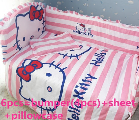 Nice Quality Striped Hello Kitty 6-PC 100% Cotton Baby Nursery Bedding Set-Loluxe