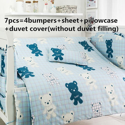 Nice Top Quality Blue Bears Boy's 6 or 7-PC Baby Nursery Bedding Set-Loluxe