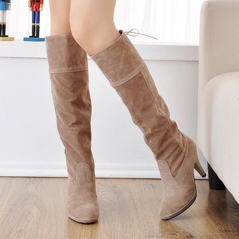Nubuck Suede Knee-High Women's Fashion Boots 4 Colors-Loluxe