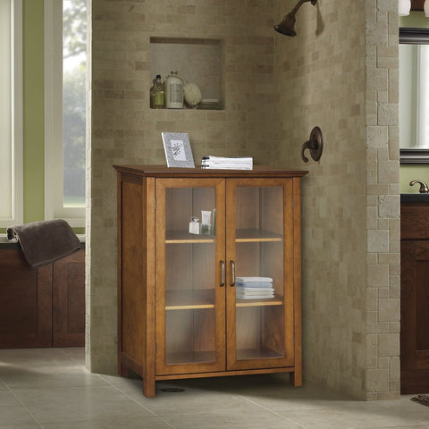 Oak Finish Bathroom Floor Cabinet with 2 Glass Doors & Storage Shelves-Bathroom > Bathroom Cabinets-Loluxe