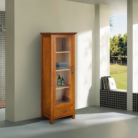 Oak Finish Linen Tower Glass Door Bathroom Storage Cabinet w/ Drawer-Bathroom > Bathroom Cabinets-Loluxe