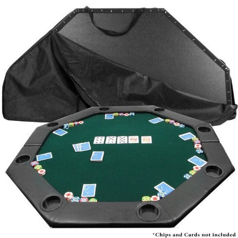 Octagon Padded Poker Top Table in Green Felt with 8 Cup Holders-Game Room > Poker Tables-Loluxe