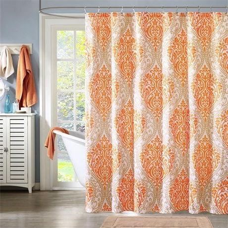 Orange Taupe Damask Polyester 72-inch Shower Curtain - Machine Washable-Bathroom > Shower Curtains-Loluxe