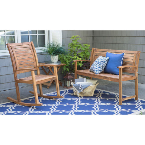 Outdoor 4-Ft Classic Slat Back Garden Bench Patio Arm Chair in Acacia Wood-Outdoor > Outdoor Furniture > Garden Benches-Loluxe