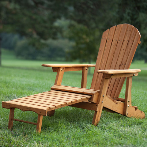 Outdoor Adirondack Chair Recliner with Slide-Out Ottoman in Kiln-Dried Fir Wood-Outdoor > Outdoor Furniture > Adirondack Chairs-Loluxe