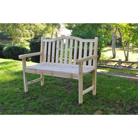 Outdoor Cedar Wood Garden Bench in Natural with 475lbs. Weight Limit-Outdoor > Outdoor Furniture > Garden Benches-Loluxe