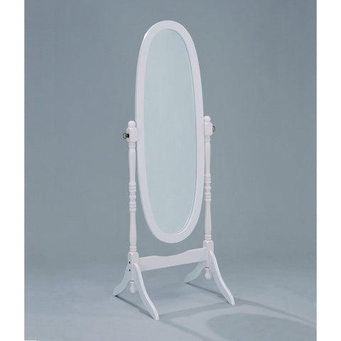 Oval Cheval Floor Mirror in White Finish-Accents > Mirrors-Loluxe