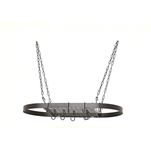 Oval Hanging Pot Rack with Chains and 2 Hooks in Matte Black-Kitchen > Pot Racks-Loluxe
