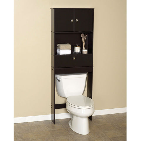 Over the Toilet Bathroom Space Saver Cabinet in Espresso-Bathroom > Bathroom Cabinets-Loluxe