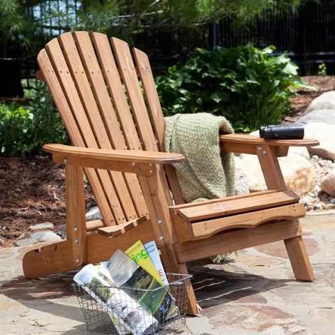 Oversized Classic Adirondack Chair with Pull-Out Ottoman in Natural-Outdoor > Outdoor Furniture > Adirondack Chairs-Loluxe