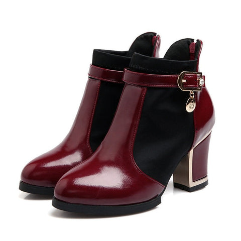 Patent Leather Patchwork Buckle Platform Ankle Boot 3 Colors-Loluxe