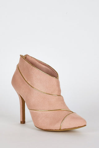 Peach Suedette Gold Trim High Heel Ankle Boots-Footwear > High Heels-Loluxe