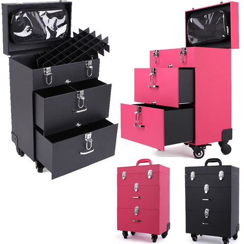 Perfect Portable Travel Makeup Trolley for the Professional or Wanna Be! High Quality Leather w/Metal Key Locks 4 Wheels w/Lock Ladies Makeup Travel Case Pink or Black-Loluxe