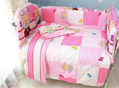 Pink Block Quilt 7-PC Zipper Bear Print Baby Quilt Nursery Bedding Set-Loluxe
