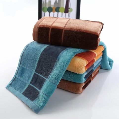 Plush Durable Fast-Drying 100% Cotton Bamboo Striped Bath Towel 3 Colors-Loluxe