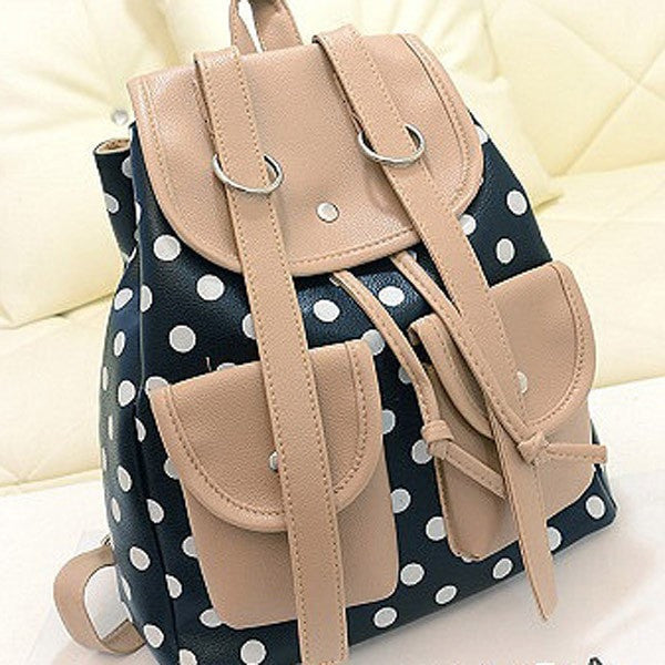 Polka Dot Backpack Double Pockets Student Bag-backpack bookbag-Loluxe