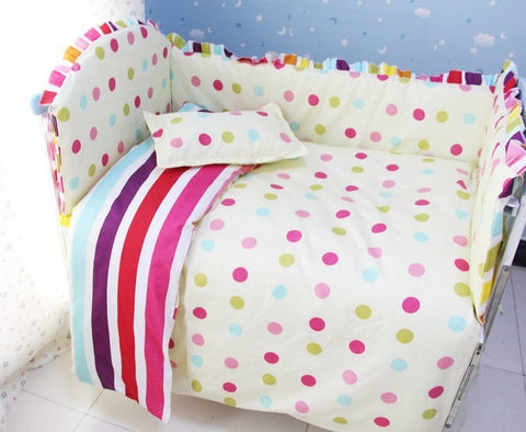 Polka Dot Colorful 6 PC 100% Cotton Nursery Bedding Set-Loluxe