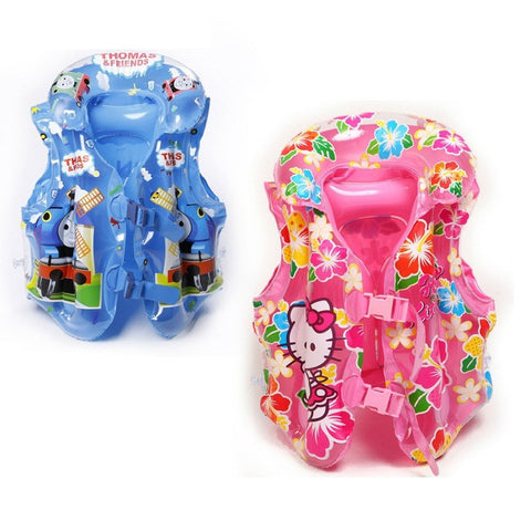 Popular Colorful Children's Character Inflatable Life Jacket Vests S-M Blue or Pink-Loluxe