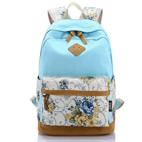Popular Trend! Floral Designer Print Color-Block Durable High-Quality Large-Capacity Backpack 10 Colors-Loluxe