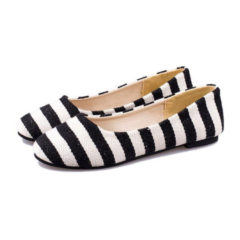 Preppy-Style Casual Canvas Striped Round Heel Loafer Ballet Flats/Shoes 3 Colors-Loluxe