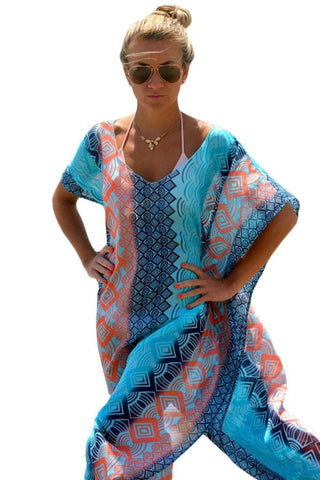 Pretty Colorful Kimono-Style Pullover Beach Maxi Cover Up One Size-Loluxe