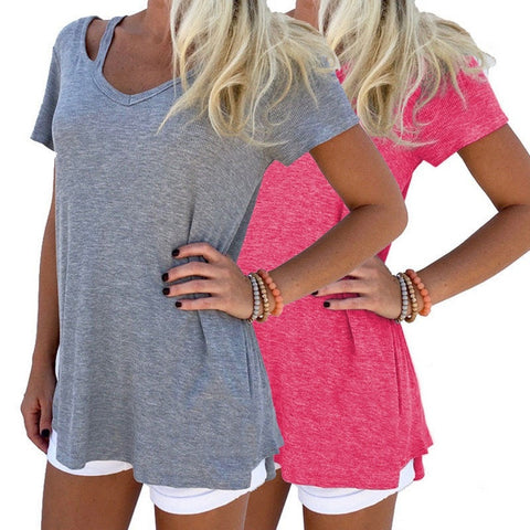 Pretty Comfortable Cool Cut-Out Ladies Summer Tee S-XL 4 Colors-Loluxe