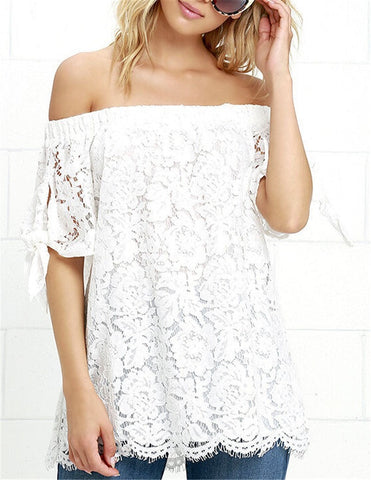 Pretty Elegant Lace Crochet Off-Shoulder Women's Blouse S-XL-Loluxe