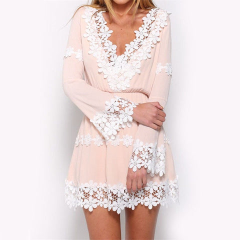 Pretty Elegant Pink Lace Deep-V Summer Mini Dress S-XL-Loluxe