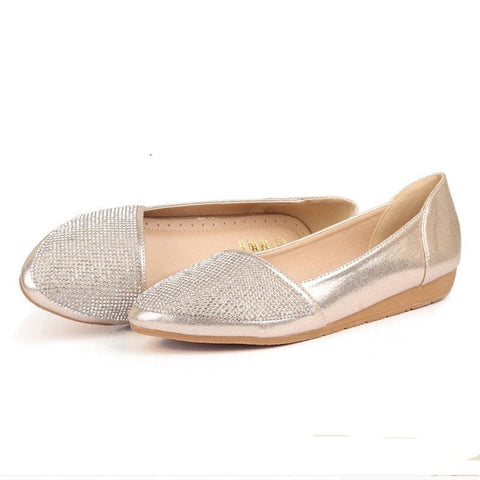 Pretty Elegant Rhinestone Pointed-Toe Casual Flat Shoes 2 Colors 4-10-Loluxe