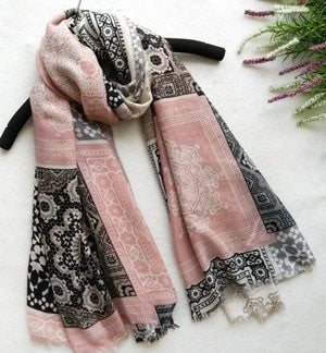 Pretty Fashion Print Long Soft Cotton Shawl Scarf 2 Colors-Loluxe