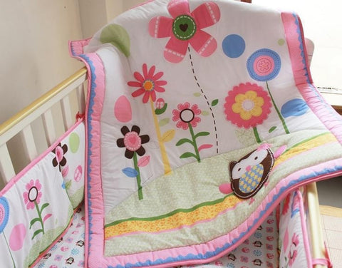 Pretty Floral Embroidered Owl 3-PC Baby Nursery Bedding Set-Loluxe