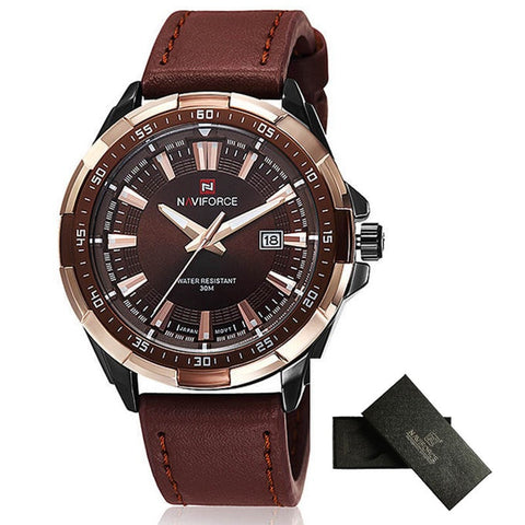 Classic-Style Waterproof Leather Men's Casual Wristwatch 4 Colors