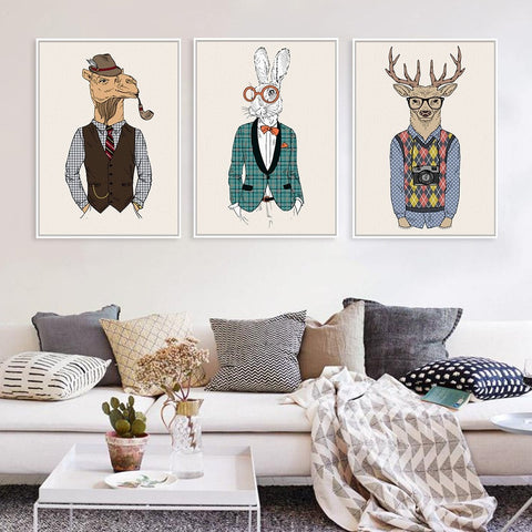 Fashion Animal Fun Poster Canvas Wall Art 9 Sizes 24 Designs