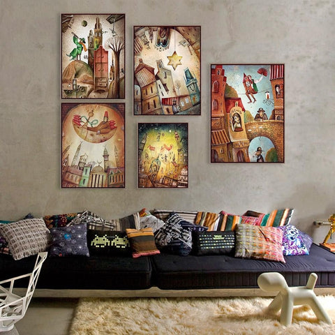 Fantasy Colorful Dream Poster Canvas Wall Art 9 Sizes 5 Designs
