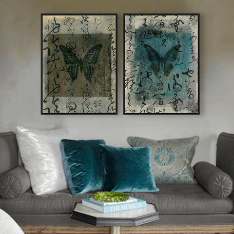Elegant Butterfly Calligraphy Canvas Poster Wall Art 9 Sizes 3 Designs