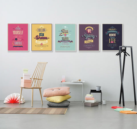 Colorful Motivational Vintage Life Quotes Poster Canvas Wall Art 9 Sizes 5 Colors