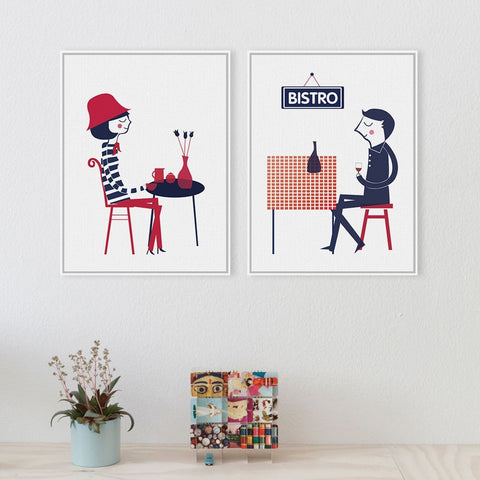 French Modern Boy Girl Bistro Abstract Wall Art 9 Sizes 2 Designs