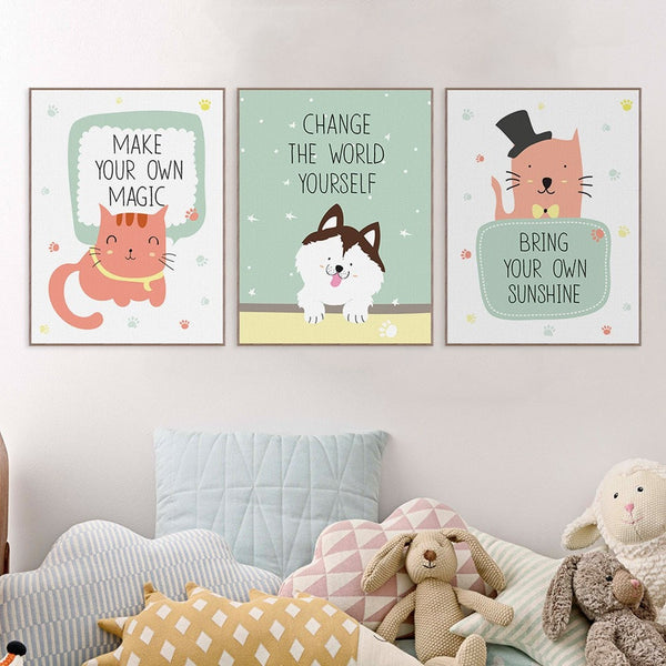 Cute Modern Animal Poster Canvas Wall Art 9 Sizes 6 Designs