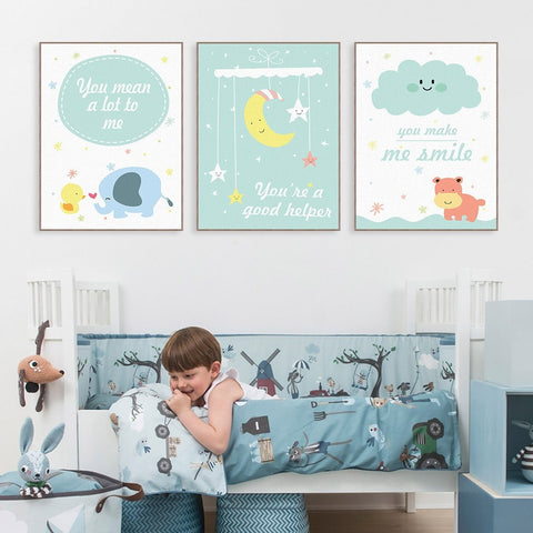 Children's Animal Moon Motivational Quote Poster Canvas Wall Art 9 Sizes 6 Designs