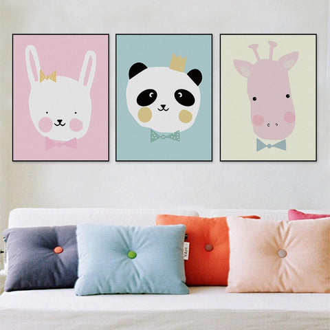 Cute Modern-Style Pastel-Colored Poster-Size Cartoon Animal Canvas Painting 12 Designs 8 Sizes