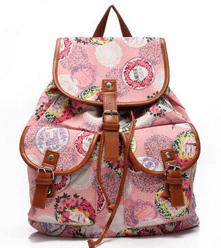 Pretty Floral-Print Multipocketed PU Leather Quality Backpack 4 Colors